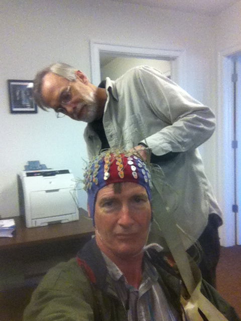 Dr Ross Dunseath wiring up my brain mapping cap in the DOPS Lab.
